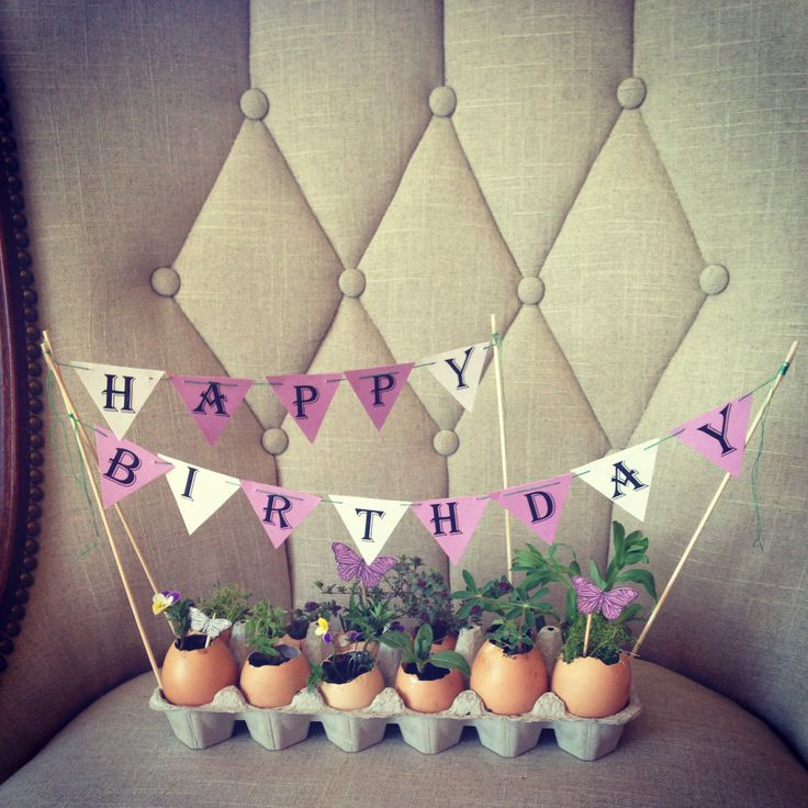 Egg carton + egg shells + tiny plants + dirt + DIY birthday banner + paper butterflies = a cheep (see what I did there? ; ) and lovely gift.