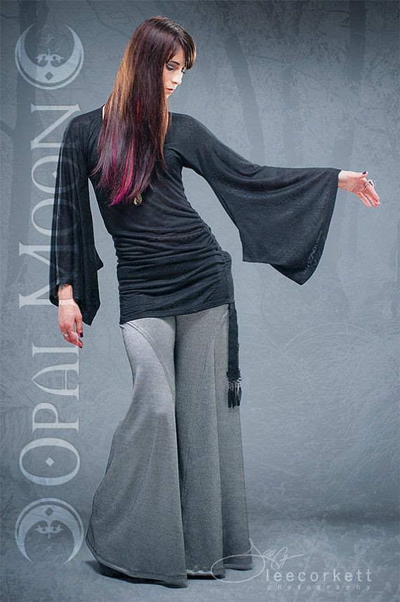 Crescent Flare Tribal Contrast Pants in Silver by OpalMoonDesigns
