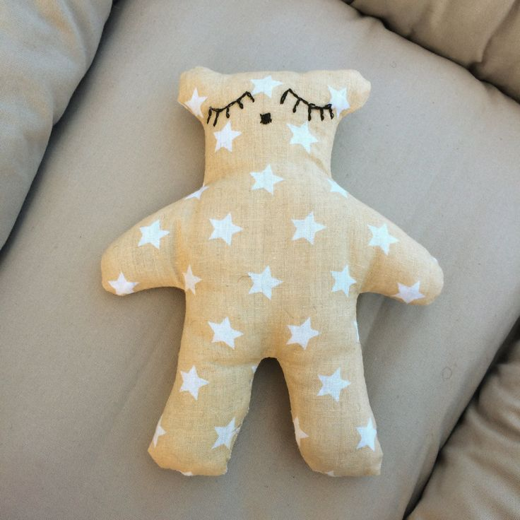 Sleepy teddy bear - beige cotton with white stars filled with wool - wool teddy bear - kids teddy bear - stars - stars teddy bear - sleepy by leonorafi on Etsy