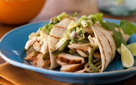 Spice-Rubbed Chicken Breast Tacos with BBQ Onions and Coleslaw Recipe by Bobby Flay