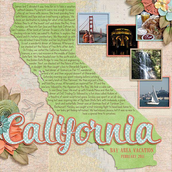 #papercraft #scrapbook #layout.   California LO  QWS_SOMWC_Jennifer2