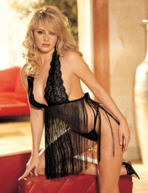 Black Front Catkin Babydoll And G-string $13.92