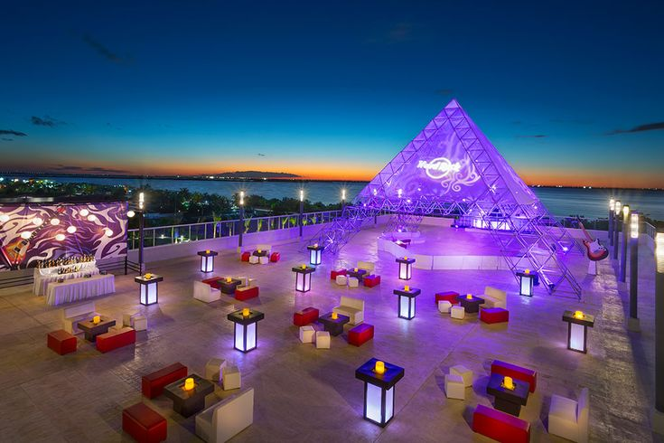 Rooftop terrace with a stunning sunset backdrop? This is perfection! #cancun #mexico