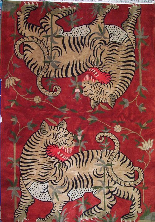TIBETIAN BUDDHIST CARPETS   Rugs: Yin-Yang Tiger Carpet - Tibetan Tiger Rugs, Beads, Buddhist ...
