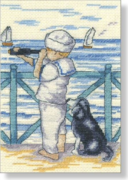 Ship on the Horizon - Faye Whittaker Arts, All Our Yesterdays Cross Stitch and Original Art Wesbsite