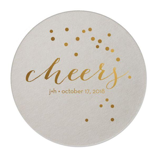 Custom Eggshell Round Coasters with Shiny 18 Kt Gold on ForYourParty.com