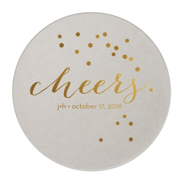 Custom Eggshell Round Coasters with Shiny 18 Kt Gold on ForYourParty.com