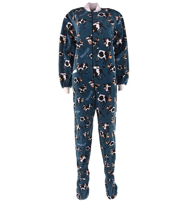 Lazy One Blue Cow Footed Pajamas for Adults - Click to enlarge