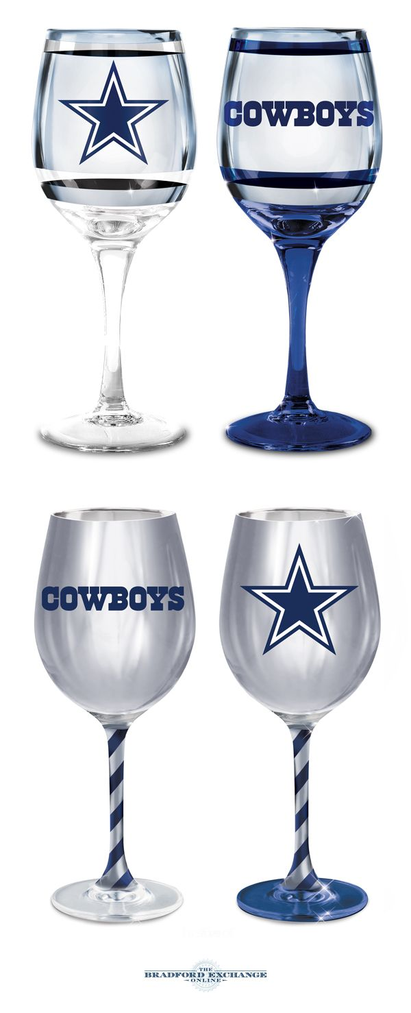 Cheering on your Dallas Cowboys never looked so stunning! This collection of officially-licensed wine glasses is crafted in the finest European tradition and sports team logos, team colors and metallic finishes. Arrive in sets of 2.