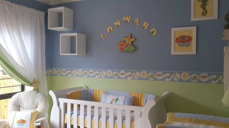 Under the sea themed nursery decor - Wallpaper borders  Under the sea bale set includes: 100% cotton fabric and easy breathe cot bumper inner. Quilt Cot bumper Mini scatter cushion Fitted sheet (to fit large cot)   www.facebook.com/borderboutique.co.za