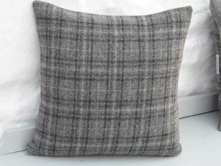 HARRIS TWEED Grey Modern Check Cushion Cover (both sides check)