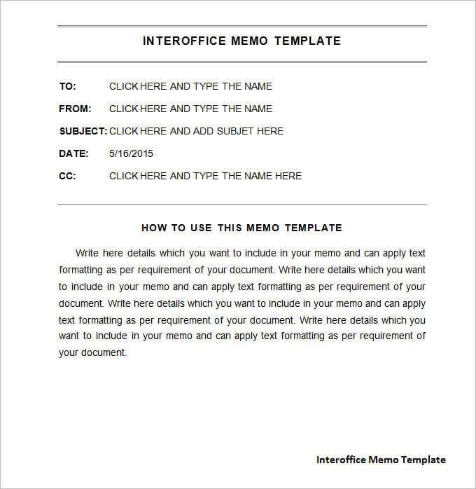 17 Free Interoffice Memo Templates Memo Template Word Template