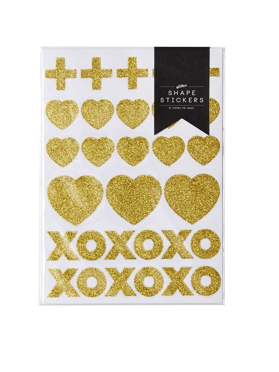 Crosses, hearts, hugs and kisses will add that special sparkle to your gifts, lolly bags, letters, balloons - so much fun!  Each pack contains 4 identical gold glitter shape sticker sheets. Totaling 120 shapes to decorate your life with.  Little Boo-Teek - Gold Heart Stickers   Designer Party Stationary Online   Poppies for Grace Online