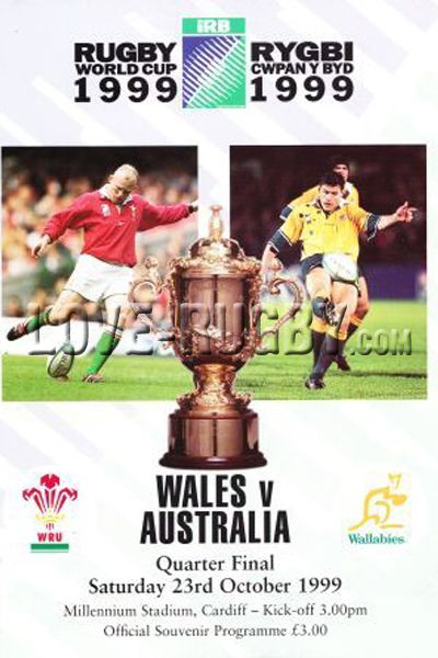 #rugby today 23/10 in 1999 : Wales 9-24 Australia - Wallabies rugby world cup programme Cardiff