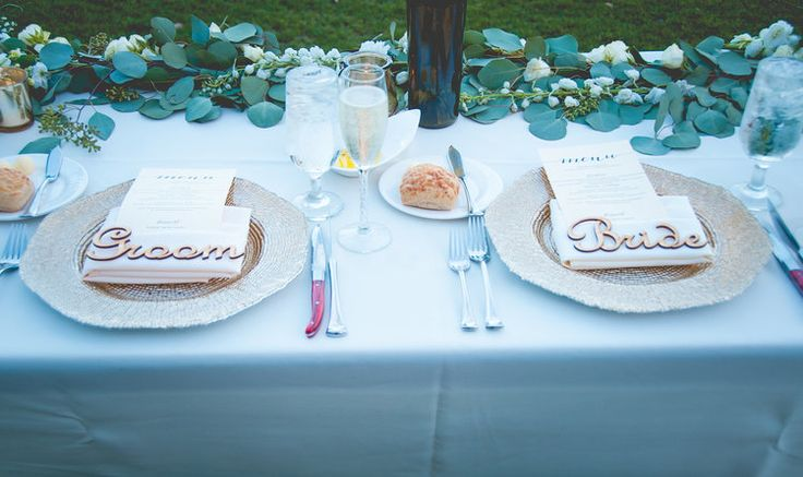 Bride & Groom wooden place cards, Tuscan inspired wedding at Bella Collina Montverde, Florida