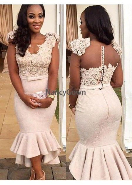 a51c9b429c03 Mermaid Appliques Simple Sleevelss Buttons Hi-Lo Lace Prom Prom  Dresses_Prom Dresses_Special Occasion Dresses_High Quality Wedding Dresses, Prom  Dresses, ...