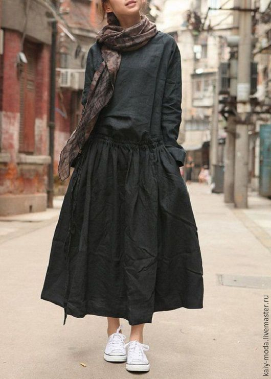 Купить Платье - Бохо-стиль - однотонный, летнее платье, платье в бохо стиле, стиль бохо