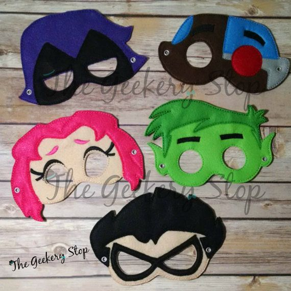 Teen Titans Dress Up Mask Party Favors Costume by TheGeekeryStop