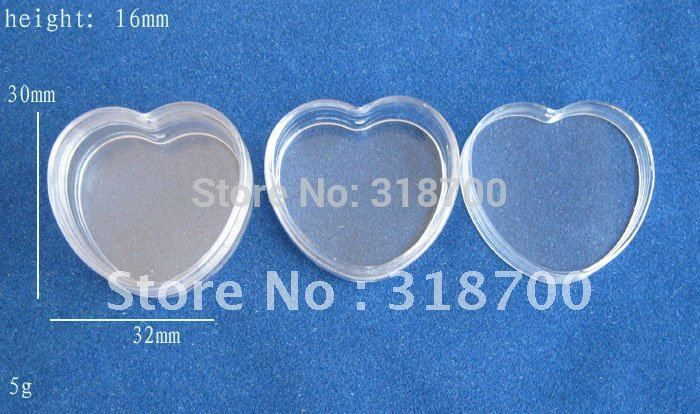 100 x Hight quality 5g  Heart cream bottle,cosmetic container, 5ml pp jar cream jar, cosmetic packaging