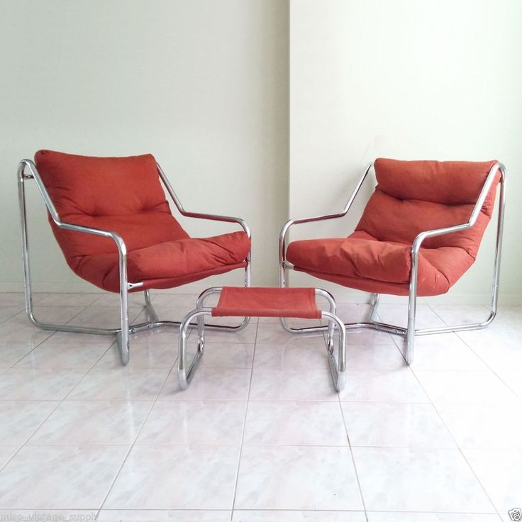 Mid Century Sling Lounge Chair Matching Ottoman Ottomans And Modern