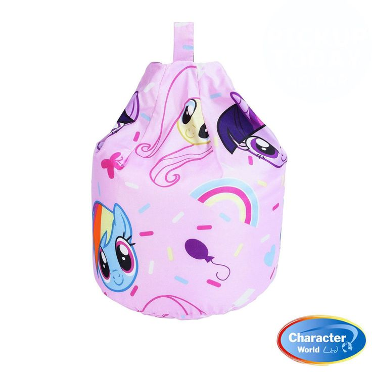 This childrens bean bag is an officialy licenced my little pony bean bag.  It features beautiful prints of all the favourite characters drawn in a cute chibi style. Twilight sparkle, Rainbow Dash and the extremely cute Fluttershy. Rainbows and balloons surround them, This Bean Bag Fast & Free Shipping Within The UK!! Features: Size: Height 60cm, Width 52cm, Depth 52cm Approx 2.5 cubic feet.  100% Cotton Official My Little Pony bean bag  Cool, trendy, light and easy to transport.