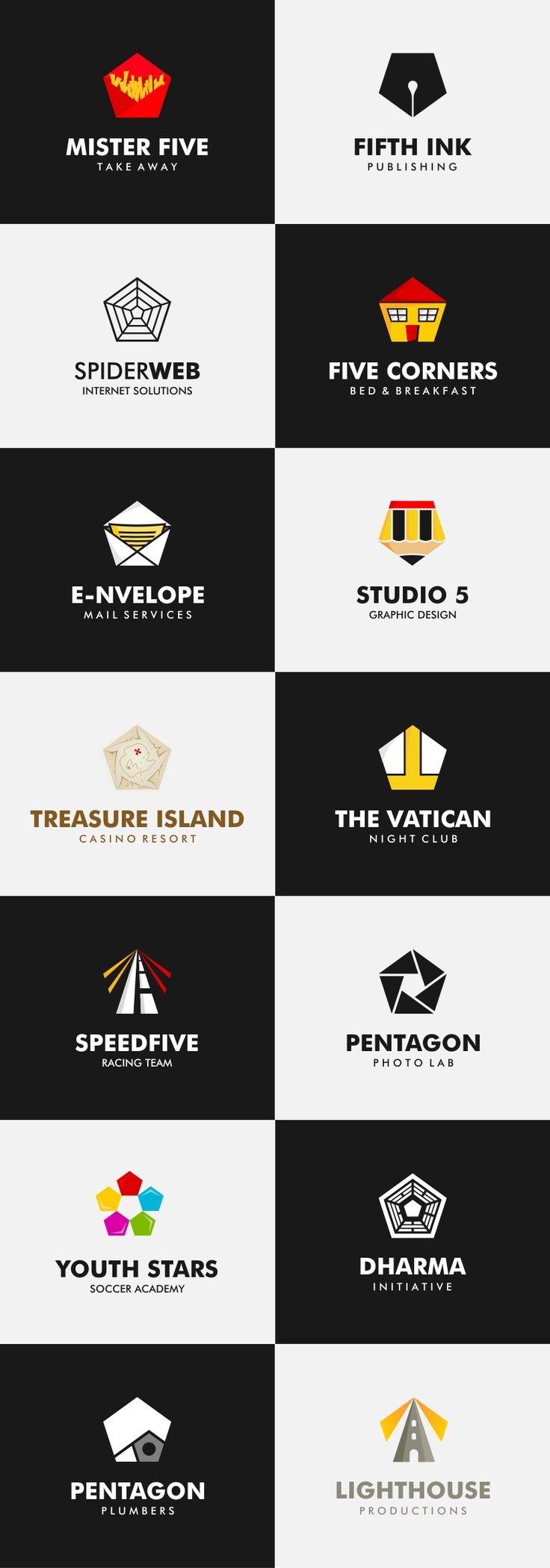 Pentalogon. This is a set of fictional logos based on the shape of a pentagon.