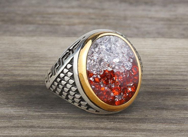 925 K Sterling Silver Man Ring Red/White Quartz and Enamel 11,25 US Size #istanbuljewelry #Cluster