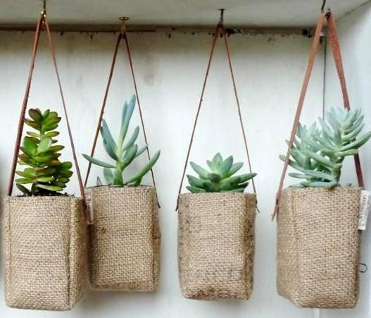 Upcycled GrEEN AbBY plant baskets WITH leather strap. Coffee burlap. |  TRENDY Coffeebags| Flickr - Photo Sharing | pinned by http://www.cupkes.com/
