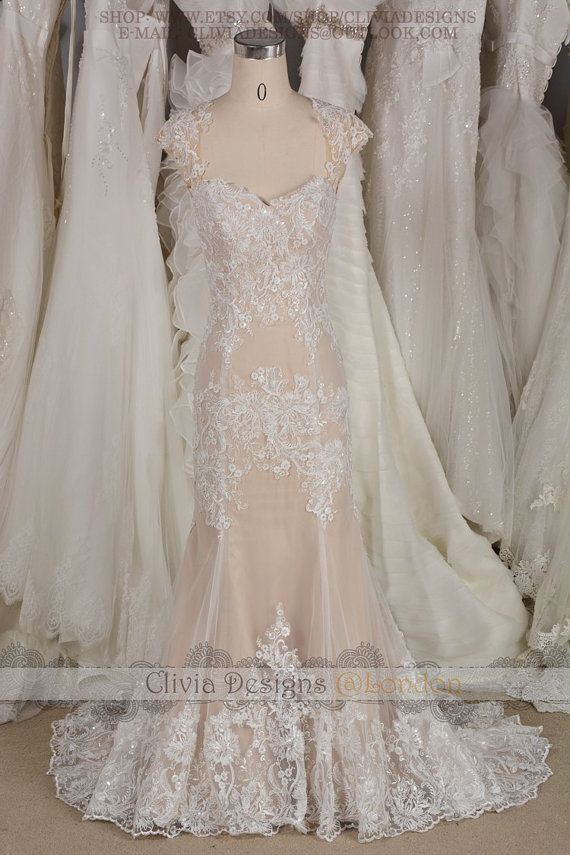 Unique Rose Gold Cap Sleeves Keyhole Back Fit Flare Sequins Lace Wedding Dress, Fairly Sequins Lace Beach Wedding Dress Wedding GownW563 SIZE: I