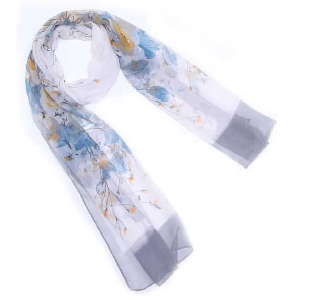 Ink and Wash Style Floral Print Georgette Scarf 5 colour available FREE shipping worldwide only 6.99 usd