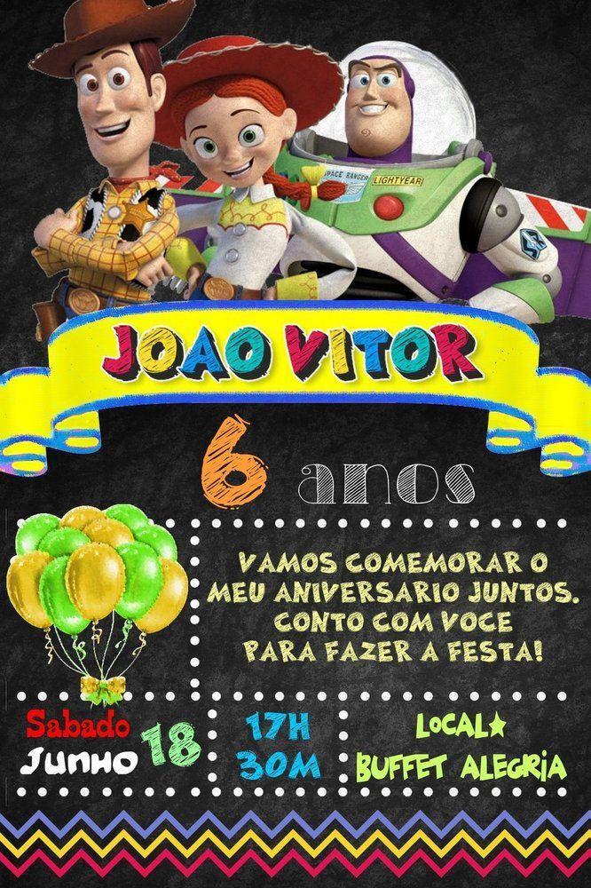 Convite digital quadro (Chalkboard) Toy Story 049
