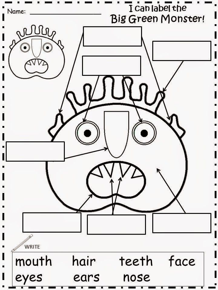 Monster activities: FREE label the monster worksheet. Perfect for Go Away Big Green Monster story.