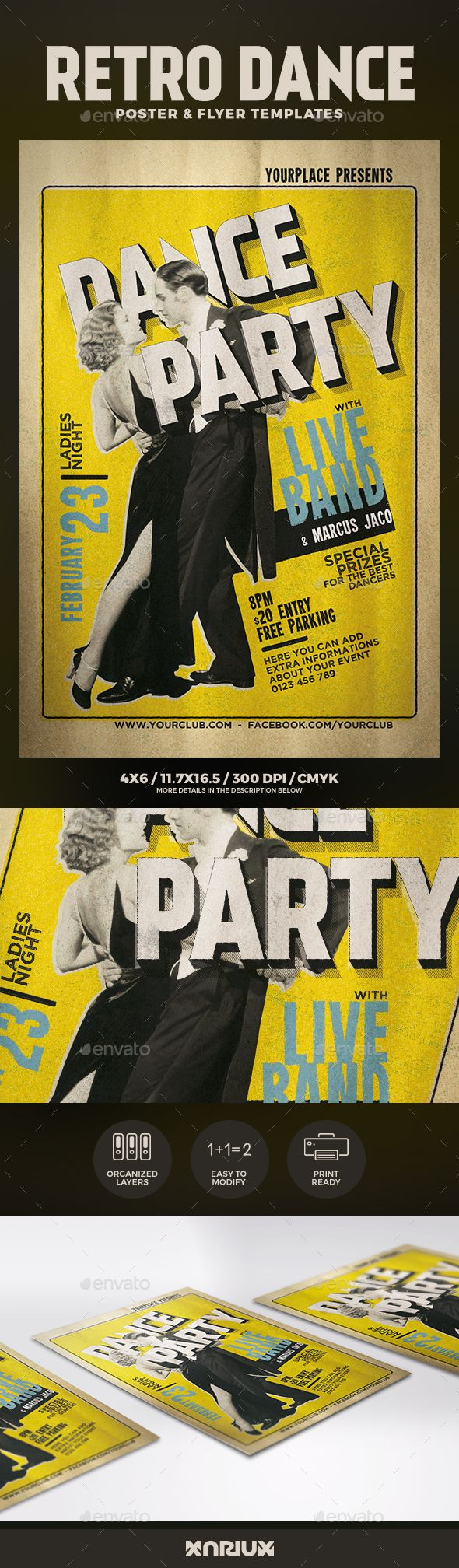 Retro Dance Flyer and Poster Template PSD