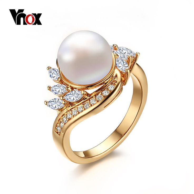 VNOX  Gold Plated Simulated Pearl  Rings for Women Fashion Wedding Rings with Cubic Zirconia Freshwater Cultured Pearl     Tag a friend who would love this!     FREE Shipping Worldwide     Get it here ---> http://jewelry-steals.com/products/vnox-gold-plated-simulated-pearl-rings-for-women-fashion-wedding-rings-with-cubic-zirconia-freshwater-cultured-pearl/    #gold_earrings