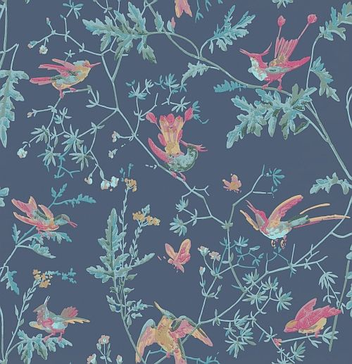 Hummingbirds Indigo Multi-Colour wallpaper by Cole & Son