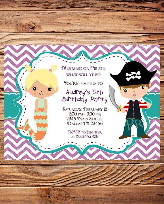 Mermaid or Pirate Birthday Party Invitation by StellarDesignsPro