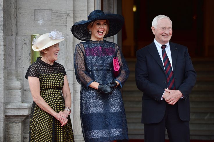 Queen Maxima of the Netherlands, second from left, shares a laugh with Gov.-Gen. David Johnston and his wife Sharon at Rideau Hall in Ottawa on Wednesday, May 27, 2015.  (Sean Kilpatrick/The Canadian Press via AP) MANDATORY CREDIT