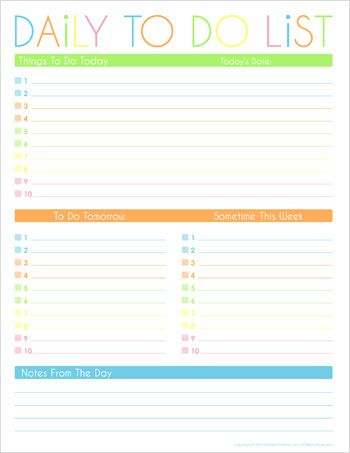 To Do Checklist Template Time Management Organizer Printable Daily