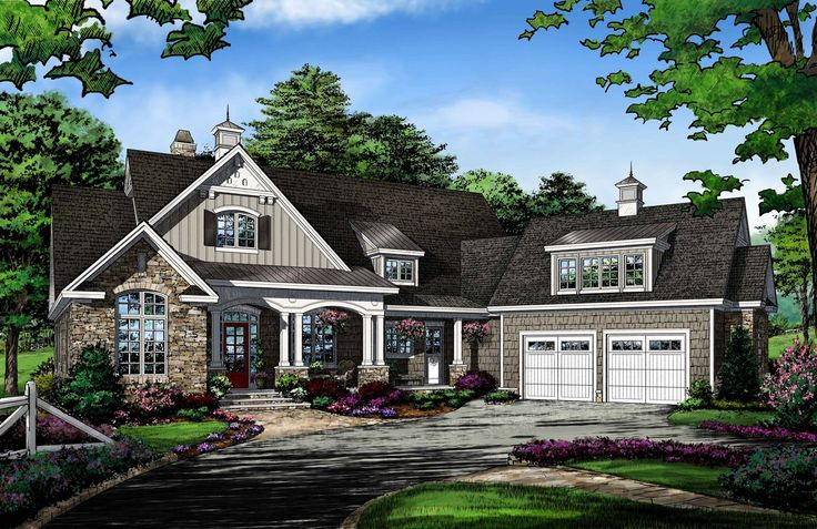 NEW PLAN - The Ambroise #1373. This Craftsman exterior is veiled in stone and shakes, topped with shed dormers and cupolas, and accented with arches and columns. The foyer reveals an open library lined with built-in book shelves. A large island kitchen is flanked by a large walk-in pantry and a storage closet. http://www.dongardner.com/house-plan/1373/the-ambroise. #OneStory #Craftsman #HomePlan