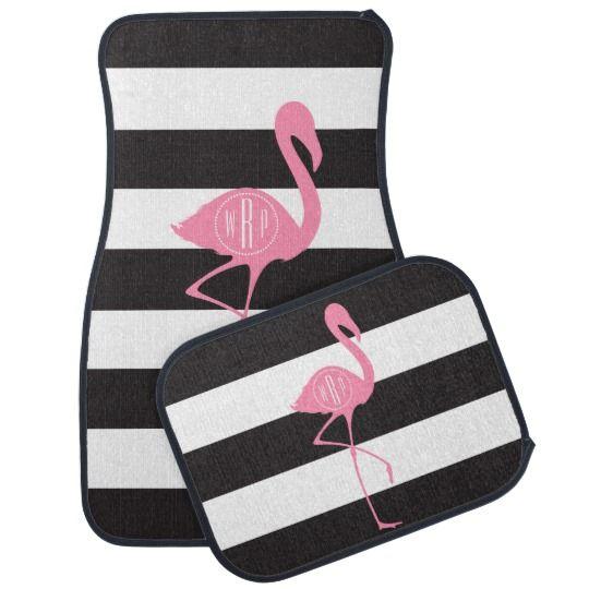 Monogrammed Pink Flamingo + Black + White Stripes Car Mat