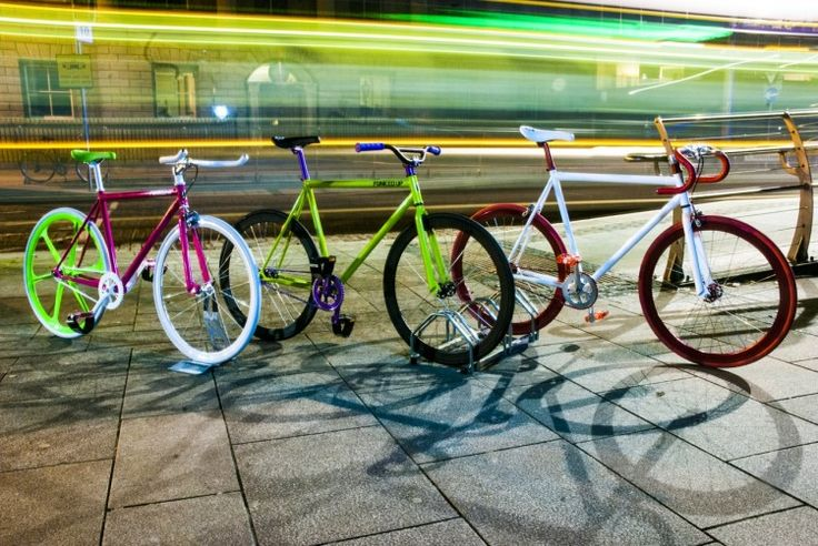 FunkedUp Bikes in Dublin. Pink frame with green Mag Wheel, a Green frame with Black Deep V Wheels and a White frame with anodised red Deep V Wheels.