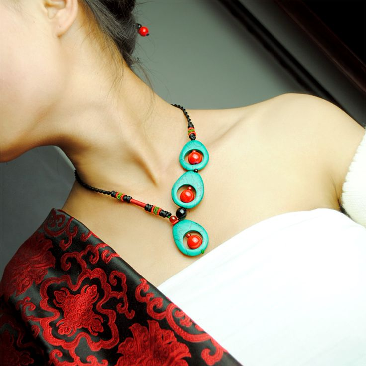 Handmade jewelry necklace choker 48cm chain green turquoise and red natural stone water drop pendant ethnic