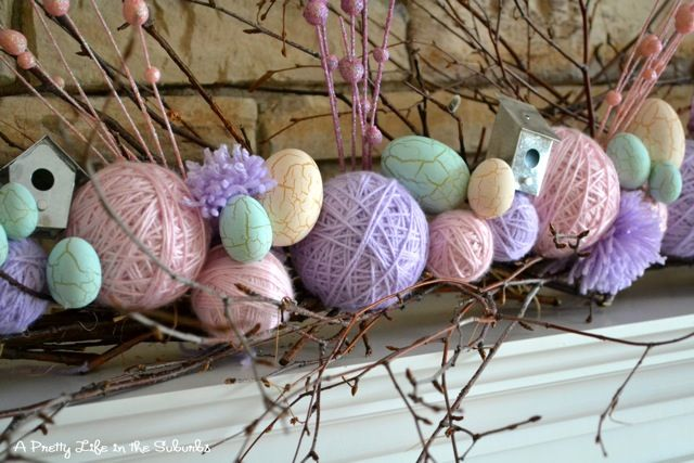 easter: Holiday, Yarn Ball, Easter Decoration, Easter Crafts, Easter Mantel, Spring Easter, Easter Spring, Easter Ideas