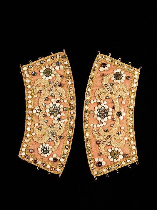 Cuffs Date: fourth quarter 18th century Culture: Russian Medium: silk, metal, pearls, glass, mother-of-pearl, semi-precious stones