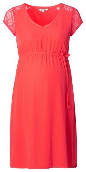Dámské šaty pro těhotné s krátkým rukávem NOPPIES - korálová