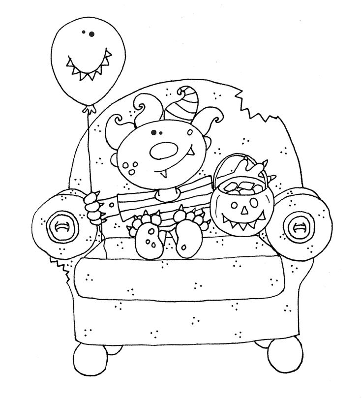 Free Dearie Dolls Digi Stamps Monster Halloween Chair Zip Could Be A Coloring Page Too