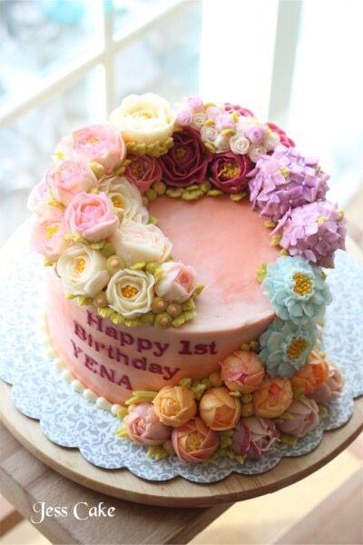 buttercream flower cake Jess Cake in Hampshire IL
