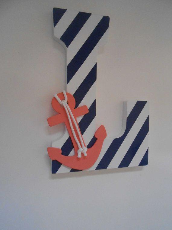 Pépinière nautique lettres en bois décor corail par LaurenAnnaLei