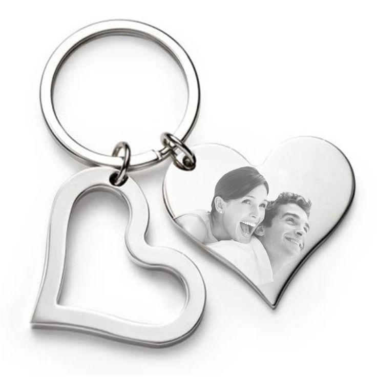 wunderschöner Schlüsselanhänger mit Fotogravur in Form eines Herzen #Geschenk #Fotogeschenk #personalisiert #Gravur