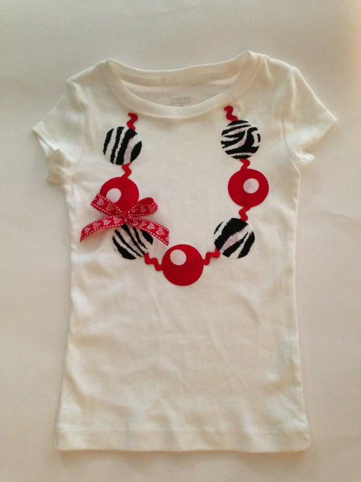 Girls valentine necklace applique tshirt,any size. $15.00, via Etsy.